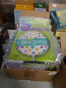 BOX OF APPROX 100 NEW BABY EX LG BALLOONS