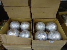 12 BOXES OF SILVER LEAF DESIGN XMAS BAUBLES. NO VAT