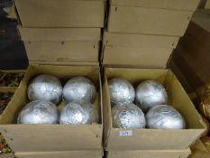 12 BOXES OF SILVER XMAS BAUBLES. NO VAT