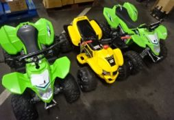 3 UNTESTED QUAD BIKES ( 2 KAWASAKI/1 CATERPILAR YELLOW) - NO CHARGERS