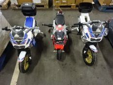 2 UNTESTED CHILDS HONDA BIKES & RED & GREY BMW BIKE - NO CHARGERS