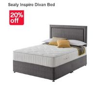 x1|Carpet Right Ex-Display 5ft Sealy Inspire Divan Bed With Headboard & 2 Drawers|RRP £999|