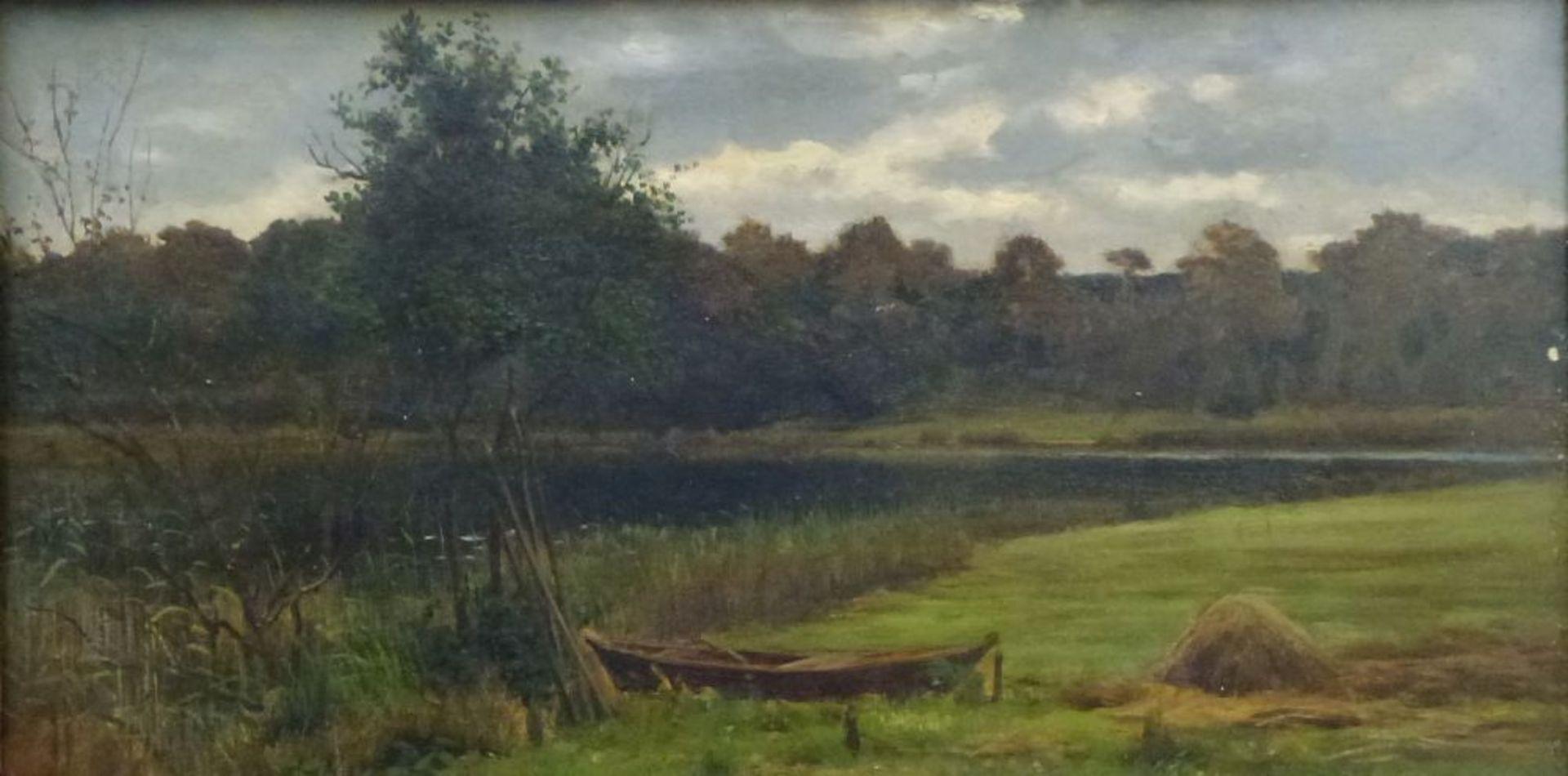 Märkische LandschaftKarl Bennewitz von Loefen(?), 1826 - 1895Öl/Platte, Sommerwiese mit Kahn am See,
