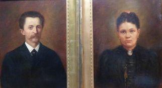 Biedermeierportrait-Paar, Mitte 19.Jh.Öl/Lw, Bürger im Anzug bzw. Bürgerin im scharzen Kleid mit