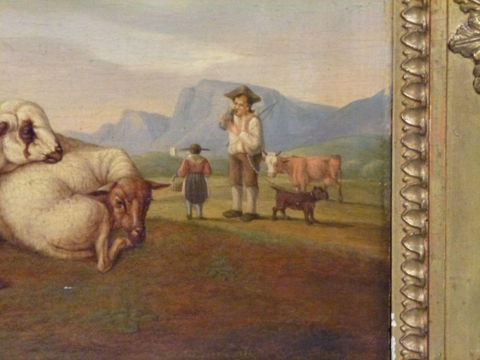 Auf der WeideGustav Jakob Canton, 1813-1885Öl/Eichenplatte, sign. G.Canton pinxit 1833, Kühe, Schafe - Bild 5 aus 7