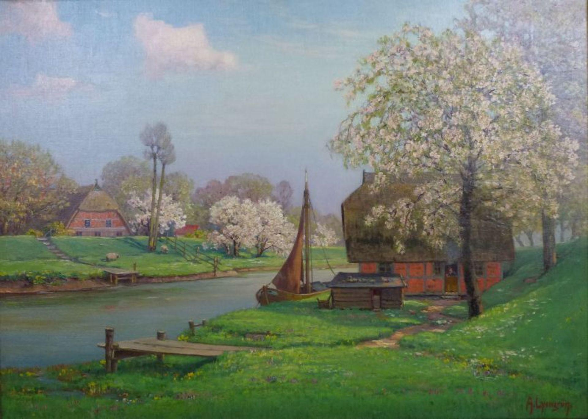 """""""Frühling an der Lühe""""Arnold Lyongrün, 1871 - 1935Öl/Lw, sign., rs. bez., Obstblüte am Fluss mit"""