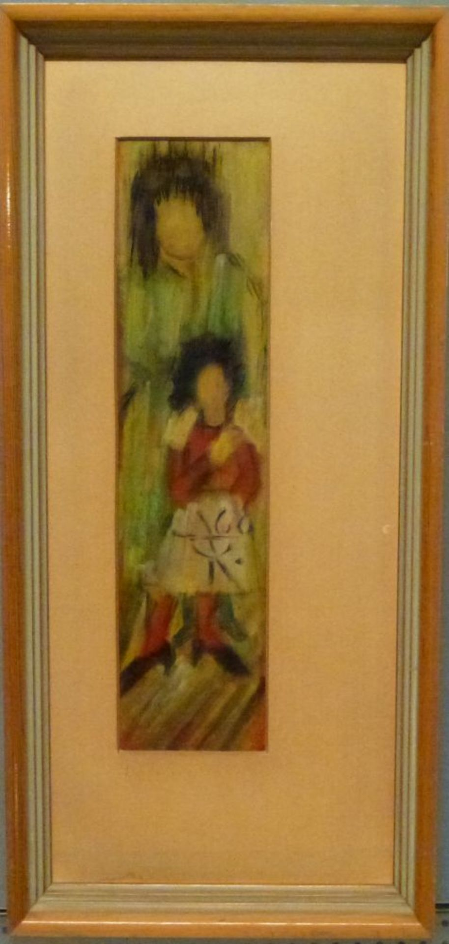 ''Erwartung'', Mitte 20.Jh.Hildegard KurpanTempera/Papier, monogr. u. dat. (19)60, Mutter mit - Bild 2 aus 2