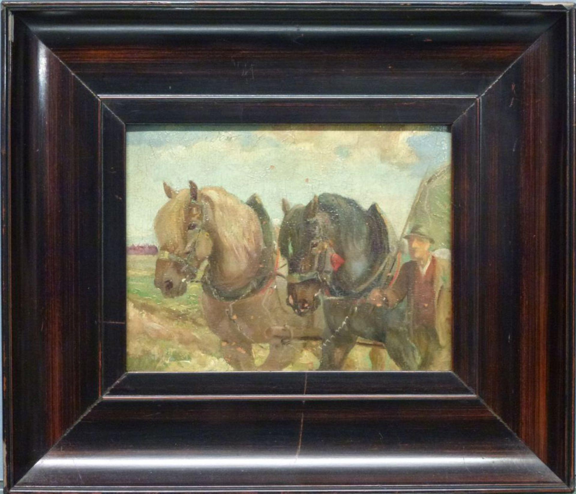 Bauer mit PferdewagenWilhelm Westerop, 1876-1954Öl/Platte, sign., craqueliert, viele kl. - Bild 2 aus 3