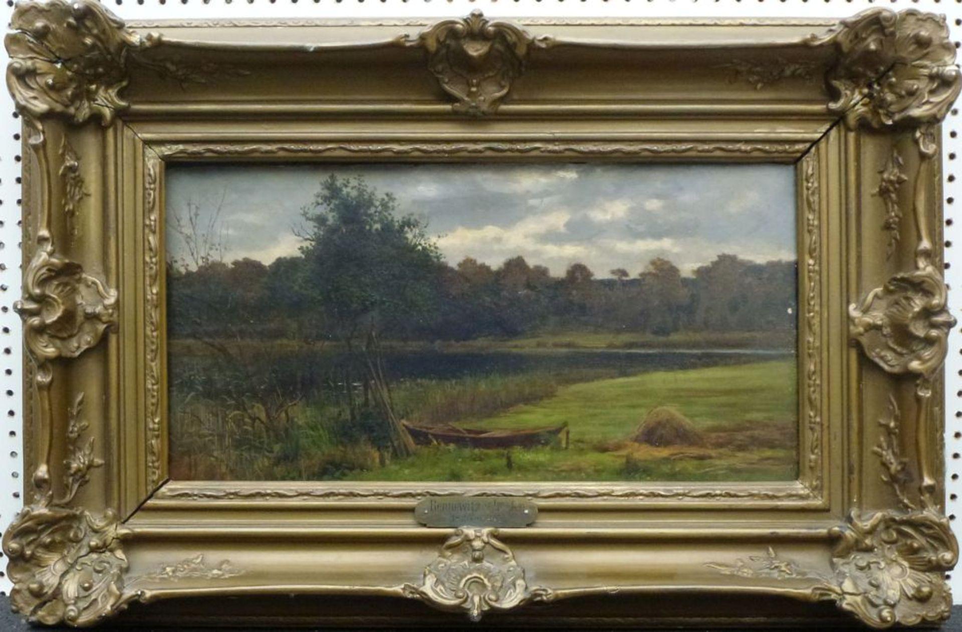 Märkische LandschaftKarl Bennewitz von Loefen(?), 1826 - 1895Öl/Platte, Sommerwiese mit Kahn am See, - Bild 2 aus 2