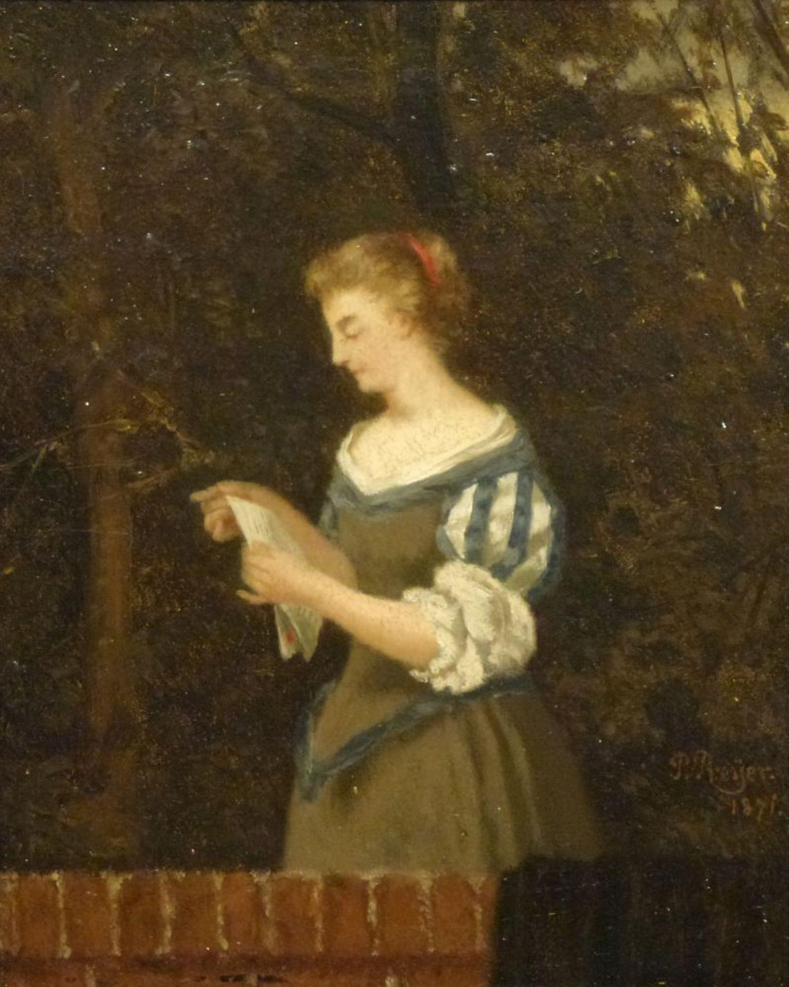 Los 49 - Der BriefPaul Preyer, 1847-1931?Öl/Mahagonitafel, sign. u. dat. P.Preyer 1871, junge Frau hinter