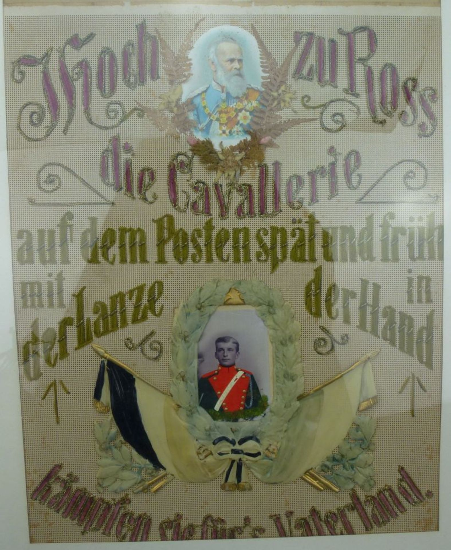 Los 24 - Reservistenhumpen und - Bild, 1909Kavallerie, Porzellan mit Lithophanie im Boden, bunte