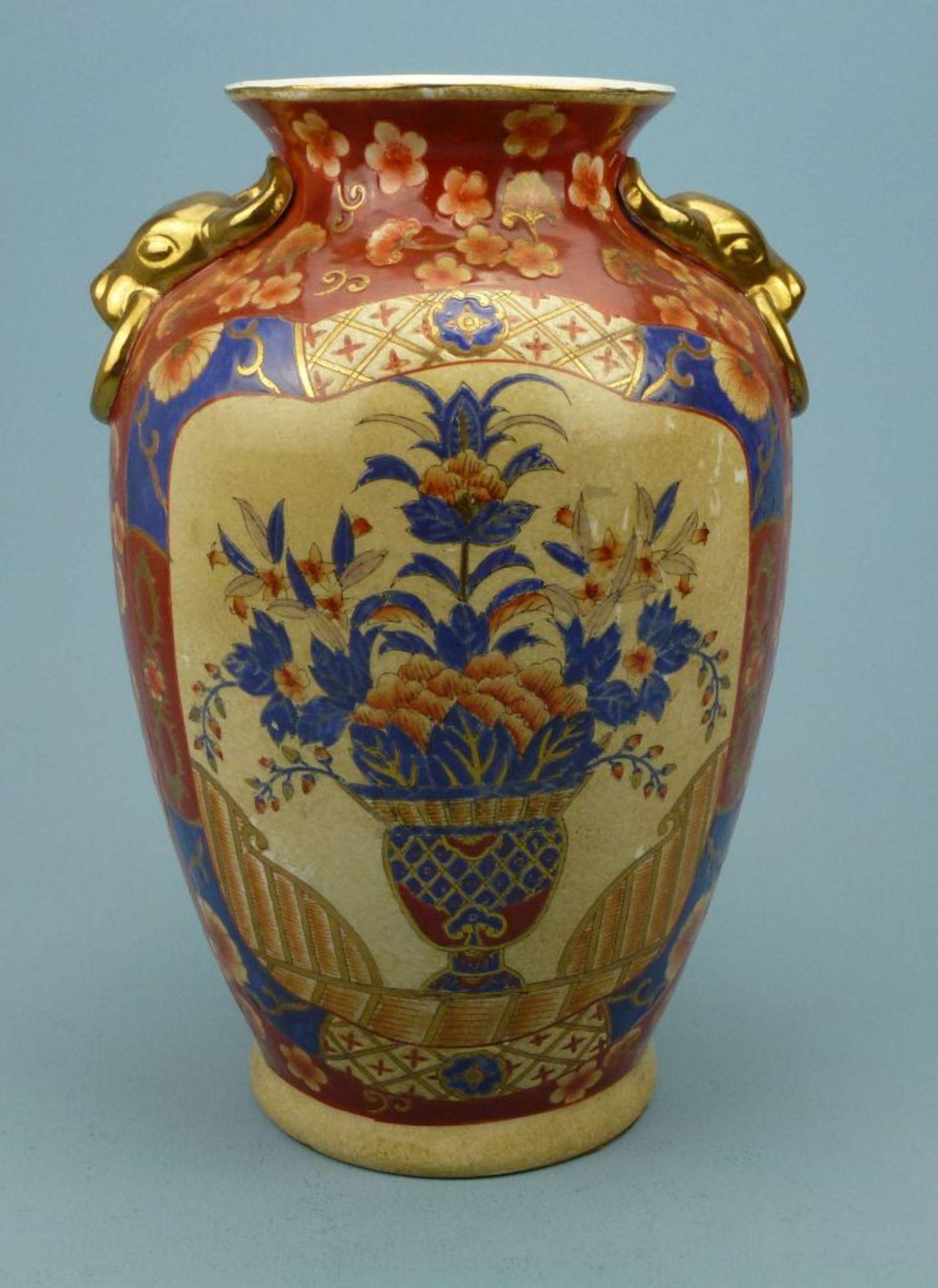 Vase, Asienovoid, Blumenvasenmotive in Kartuschen, Stierkopf-Handhaben, H 31 cm