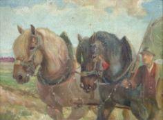 Bauer mit PferdewagenWilhelm Westerop, 1876-1954Öl/Platte, sign., craqueliert, viele kl.