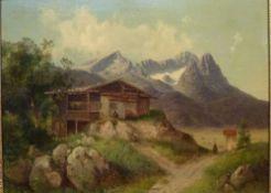 BerghofCarl Haunold, 1832 - 1911Öl/Lw doubl., auf Anhöhe über Hochtal gelegener Hof, Kalkalpen im