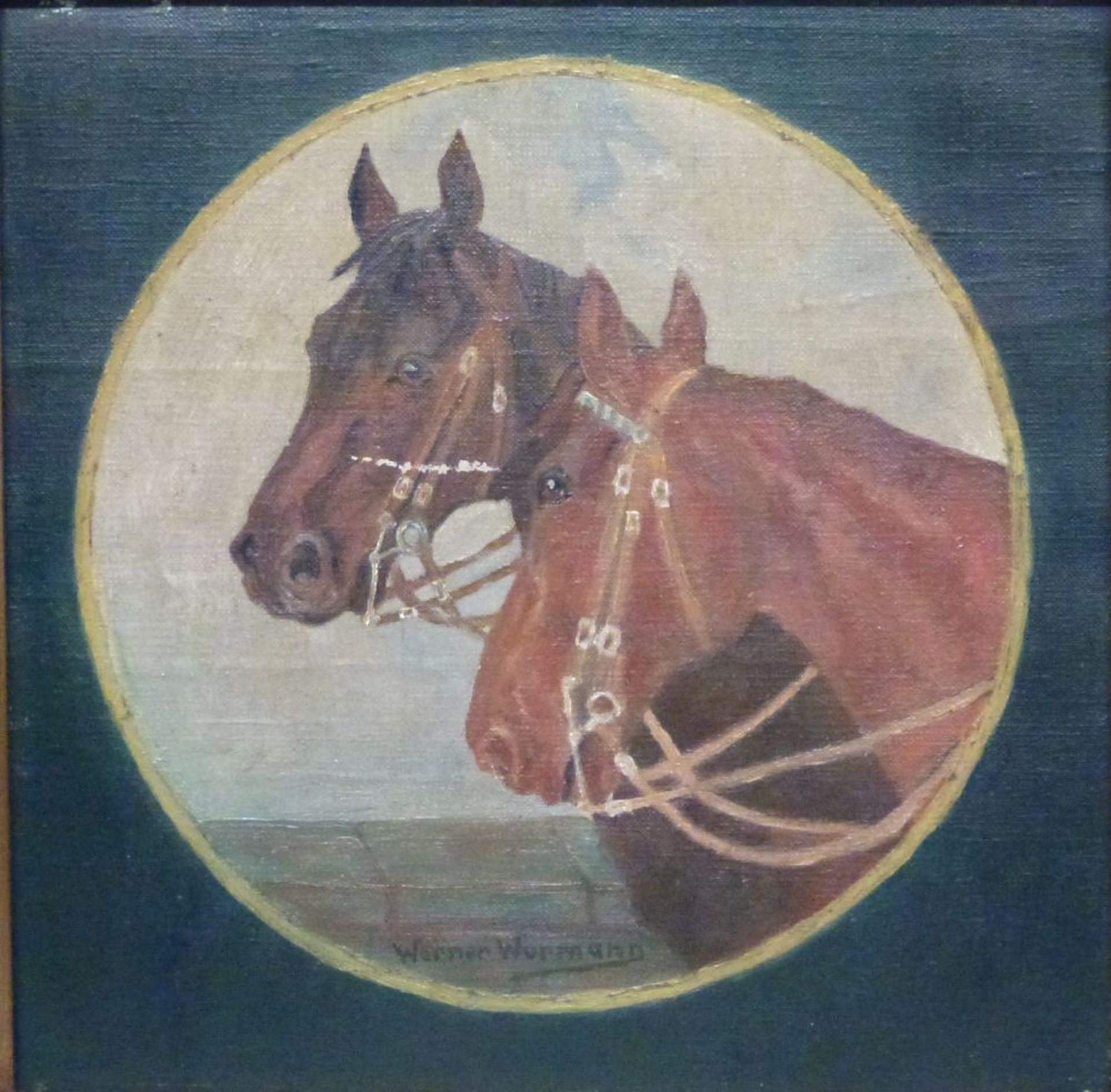PferdeWerner WurmannÖl/Lw, sign., 2 Pferdeköpfe in Rund, 28x28 cm, R