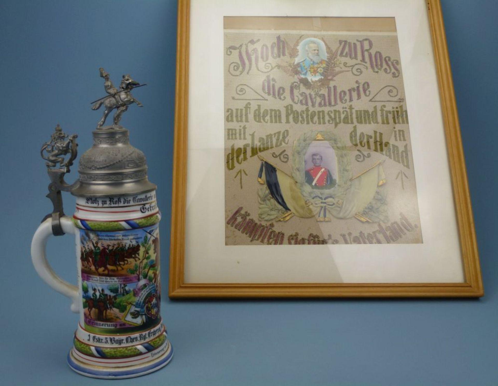 Reservistenhumpen und - Bild, 1909Kavallerie, Porzellan mit Lithophanie im Boden, bunte - Bild 3 aus 4