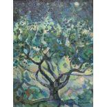 ''Vollmond'' bez.Alexej KrasnovÖl/Lw, sign., Blick auf einen verzweigten Baum, pastos-
