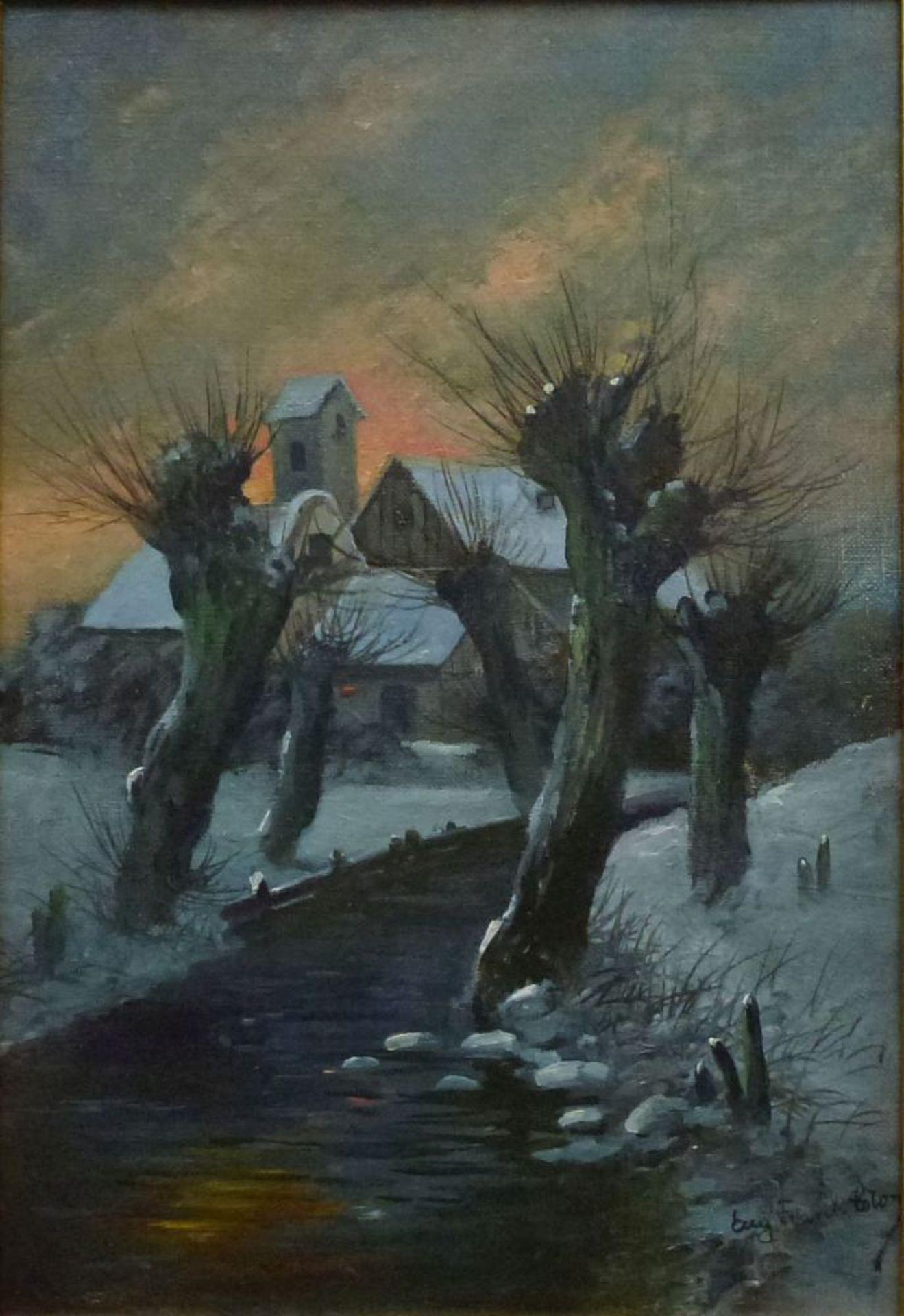 Winter, Eugen Frank-ColonÖl/Lw, sign., Weg zw. Kopfweiden, Hof im HG, R, 36x26cm
