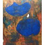 abstrakte Formen, Niggemann, HagenÖl/Lw, sign, 2 blaue große runde Flächen in Orange/Rot, 140x120
