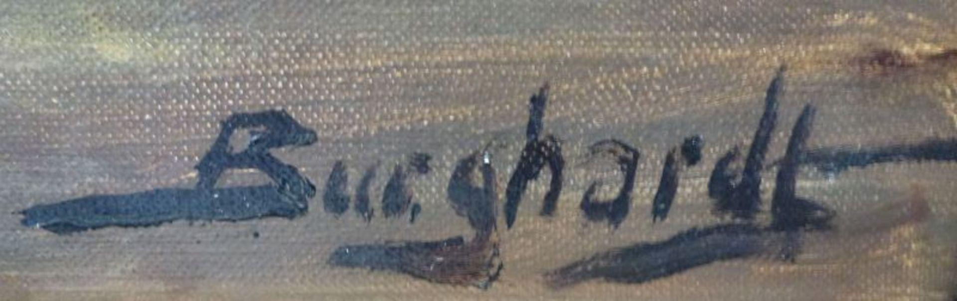 """""""Meldorfer Bucht""""Gustav Burghardt, 1890 - ca.1970Öl/Lw, sign., rs. bez., Segelboote an Steg auf - Bild 3 aus 3"""