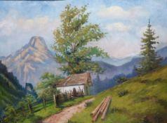 ''Kapelle im Kaisertal''Paul Götz-Räcknitz, 1873- 1952Kapelle im Spätsommer vor Hochalpen, GR, 60x80