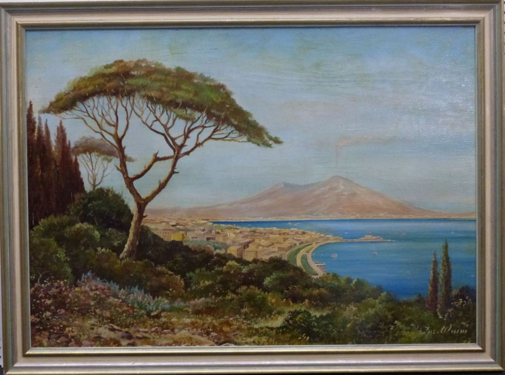 Golf von Neapel, Mitte 20.Jh.Öl/Platte, sign. Jos. Wurm, Neapel m. rauchendem Vesuv im HG, R, - Bild 2 aus 3
