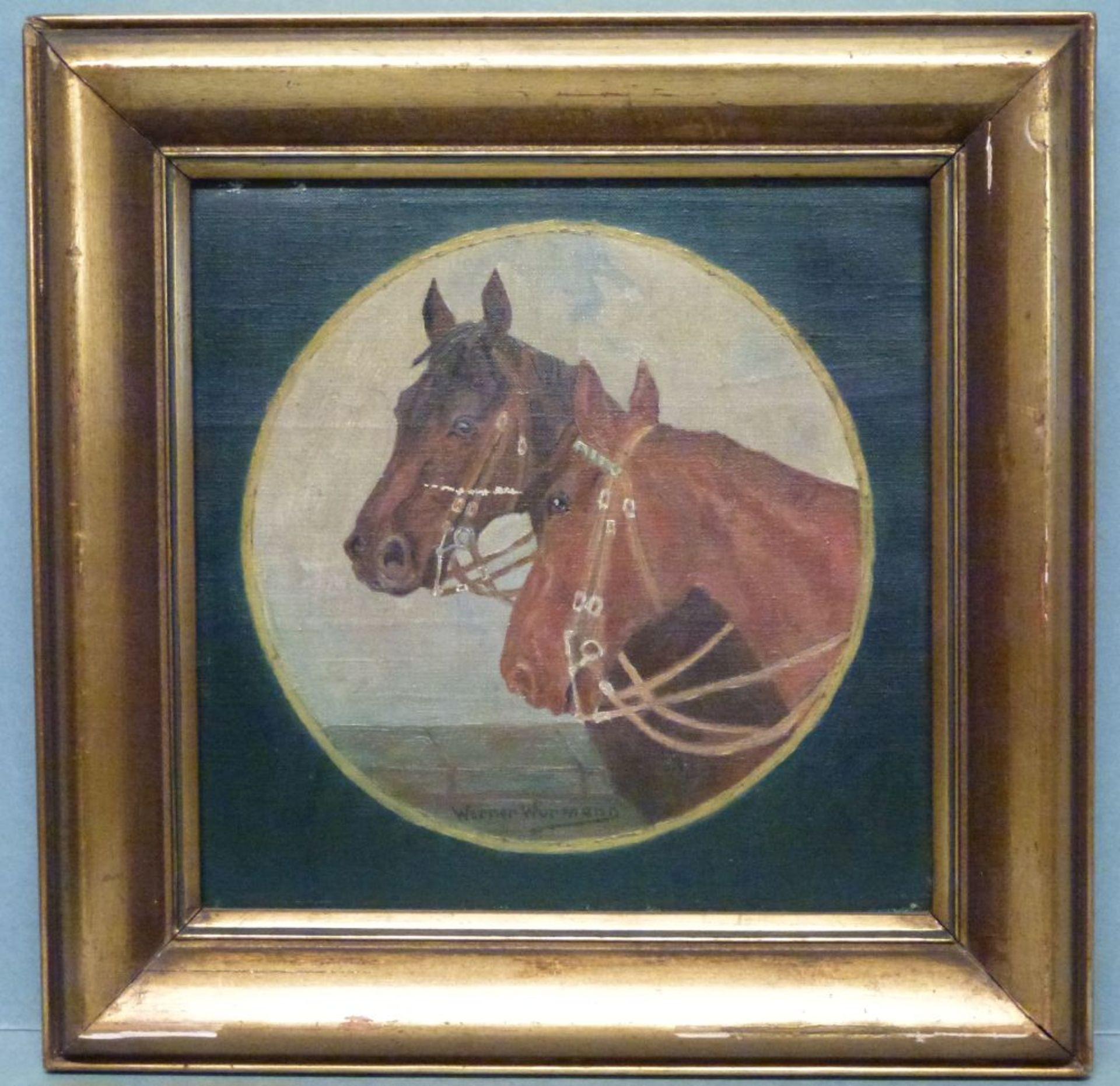 PferdeWerner WurmannÖl/Lw, sign., 2 Pferdeköpfe in Rund, 28x28 cm, R - Bild 2 aus 2