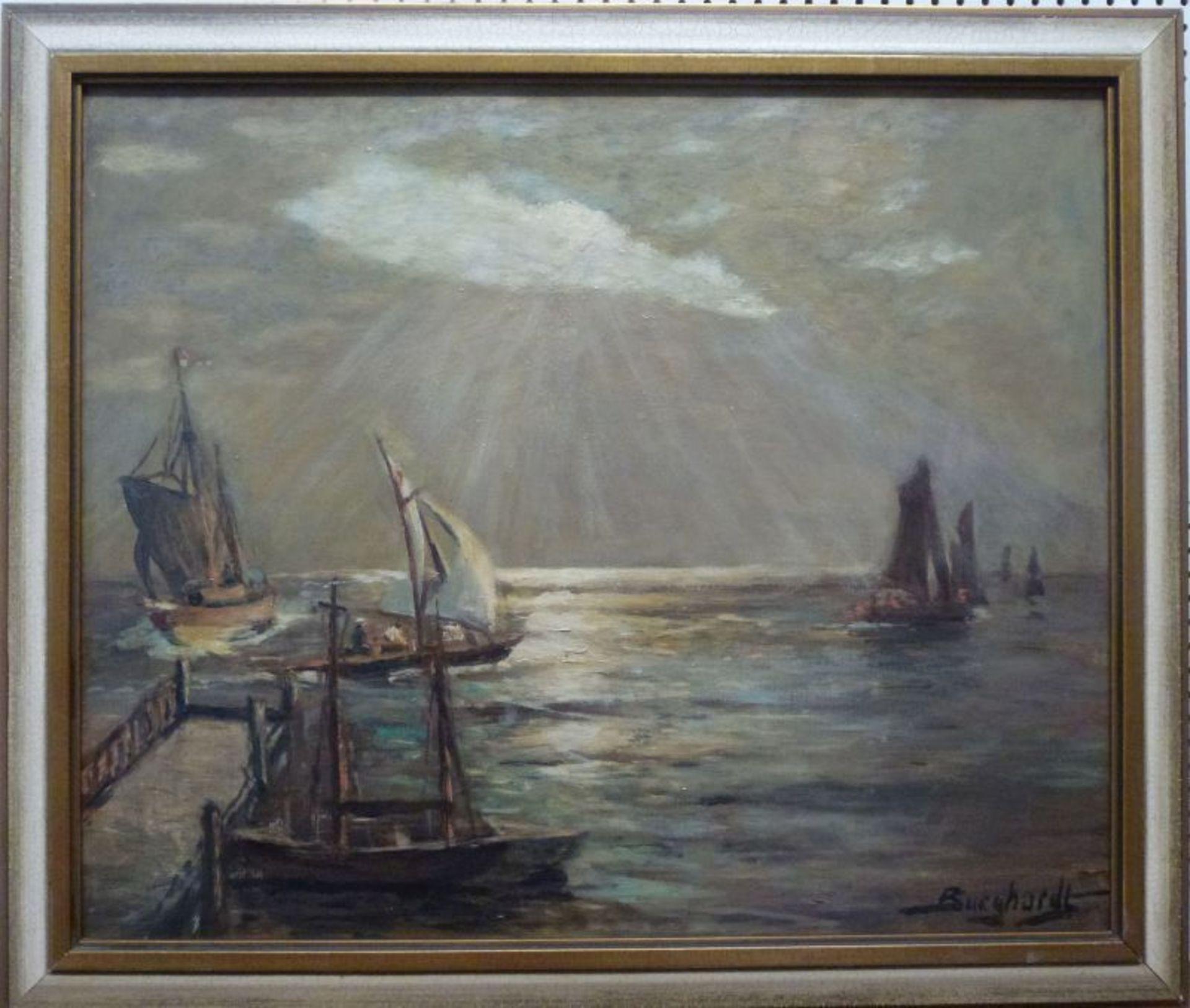 """""""Meldorfer Bucht""""Gustav Burghardt, 1890 - ca.1970Öl/Lw, sign., rs. bez., Segelboote an Steg auf - Bild 2 aus 3"""