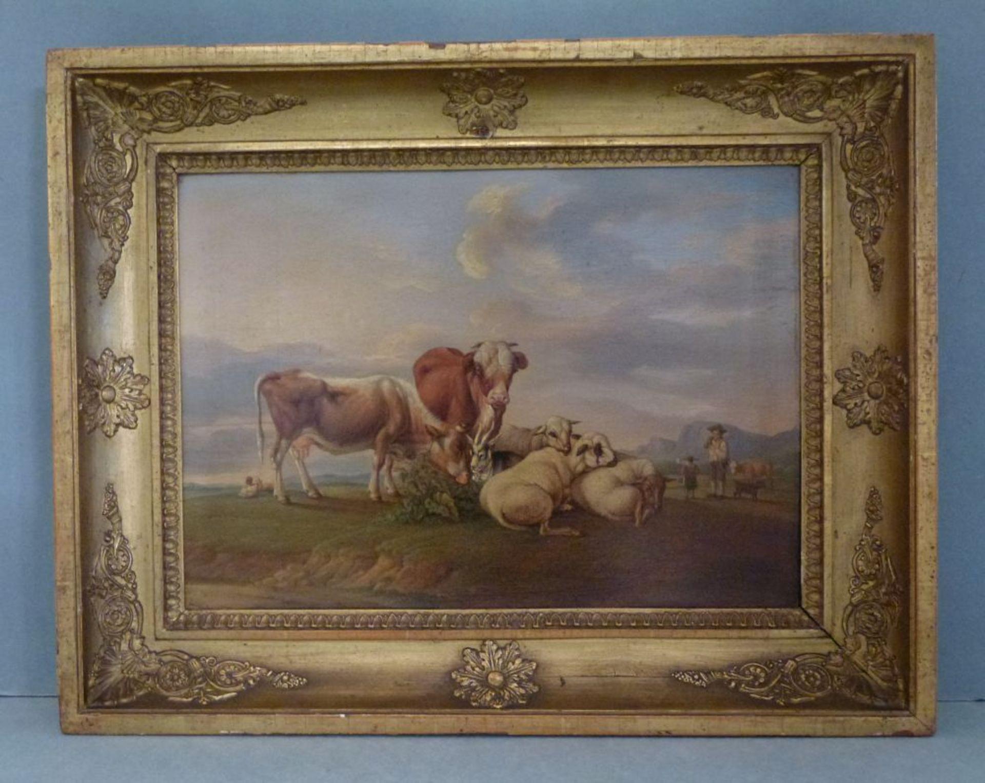 Auf der WeideGustav Jakob Canton, 1813-1885Öl/Eichenplatte, sign. G.Canton pinxit 1833, Kühe, Schafe - Bild 6 aus 7
