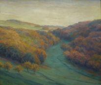 """Herbstsonne in der Eifel""Carl Nonn, 1876 - 1949Öl/LW, sign., rs. bez., Blick über Tal m."