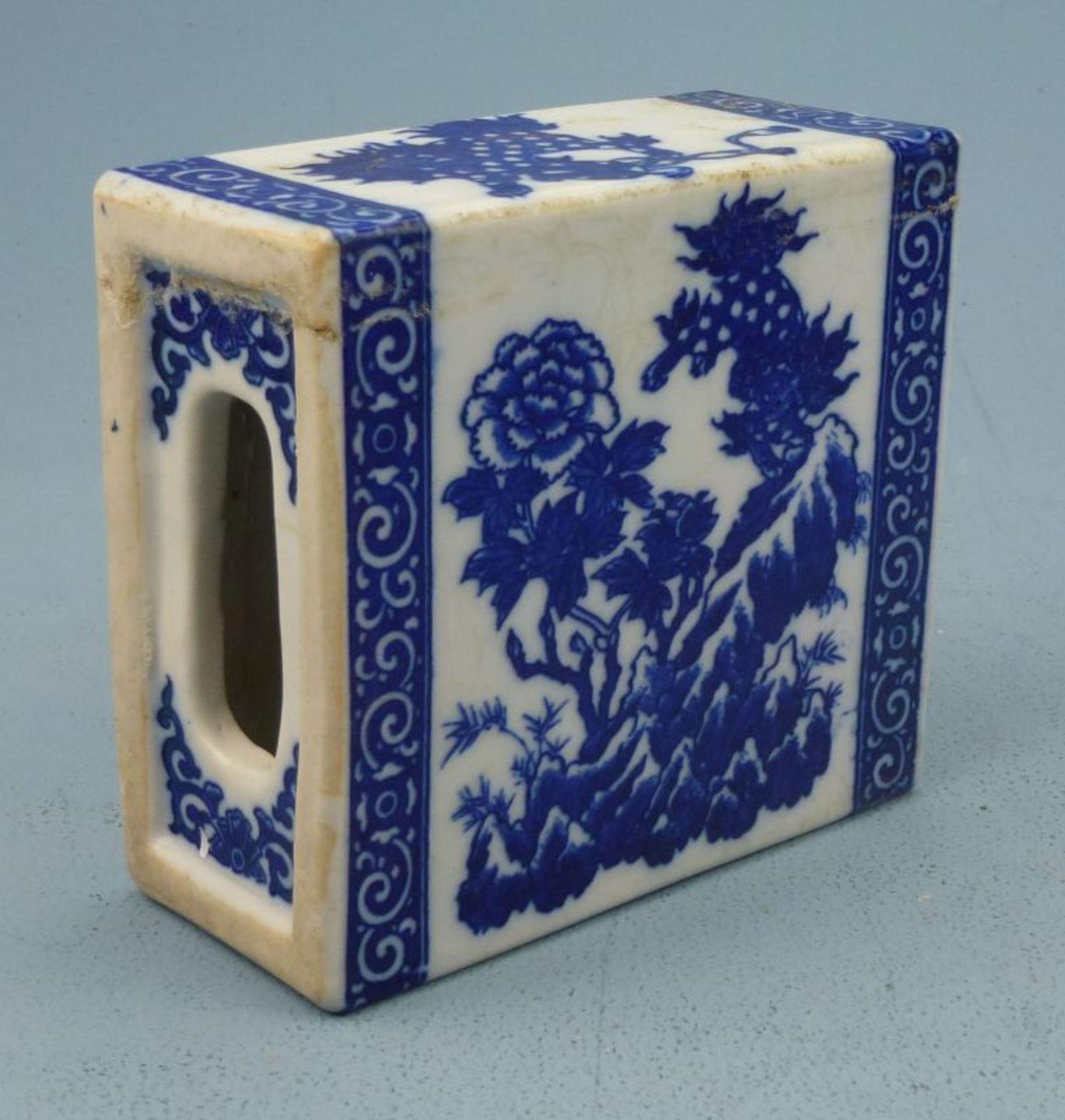 Räuchergefäß?, AsienKeramik, rechteckig, gr. bzw. ornamentale Öffnung(en) an den Kurzseiten, - Bild 2 aus 2