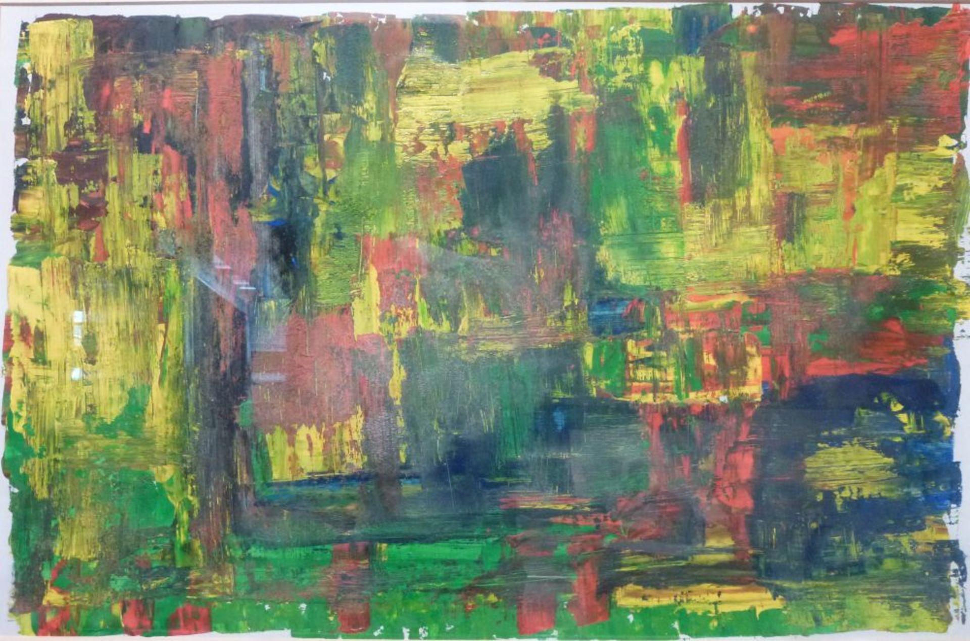 Los 44 - Farbkomposition, 1960/70er JahreÖl/Papier, R, 39x59 cm, beil. Grafik 27x61 cm
