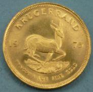 Goldmünze Krügerrand, 1975 917er, 33,97 g, Durchmesser 32,6 mm, kleinere Macken | Leonhardt Auktionshaus