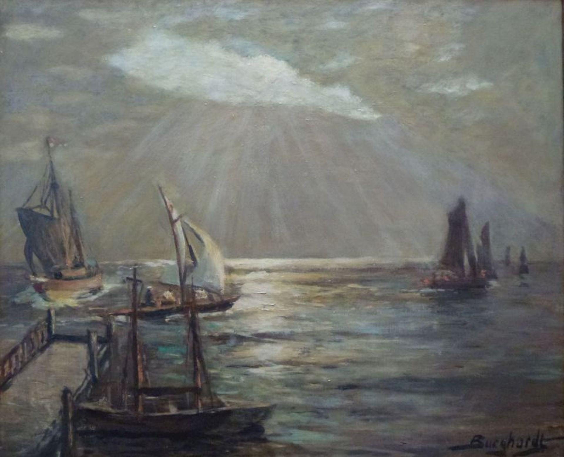 """""""Meldorfer Bucht""""Gustav Burghardt, 1890 - ca.1970Öl/Lw, sign., rs. bez., Segelboote an Steg auf"""