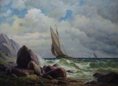 """""""Segler bei Capri""""Emil Kuhlmann-Reher, 1886 - 1957Öl/Lw, sign., Segelboot an stürmischer"""