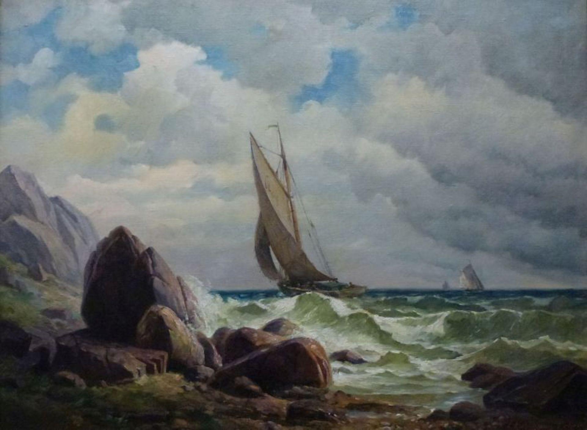 """Los 29 - """"Segler bei Capri""""Emil Kuhlmann-Reher, 1886 - 1957Öl/Lw, sign., Segelboot an stürmischer"""