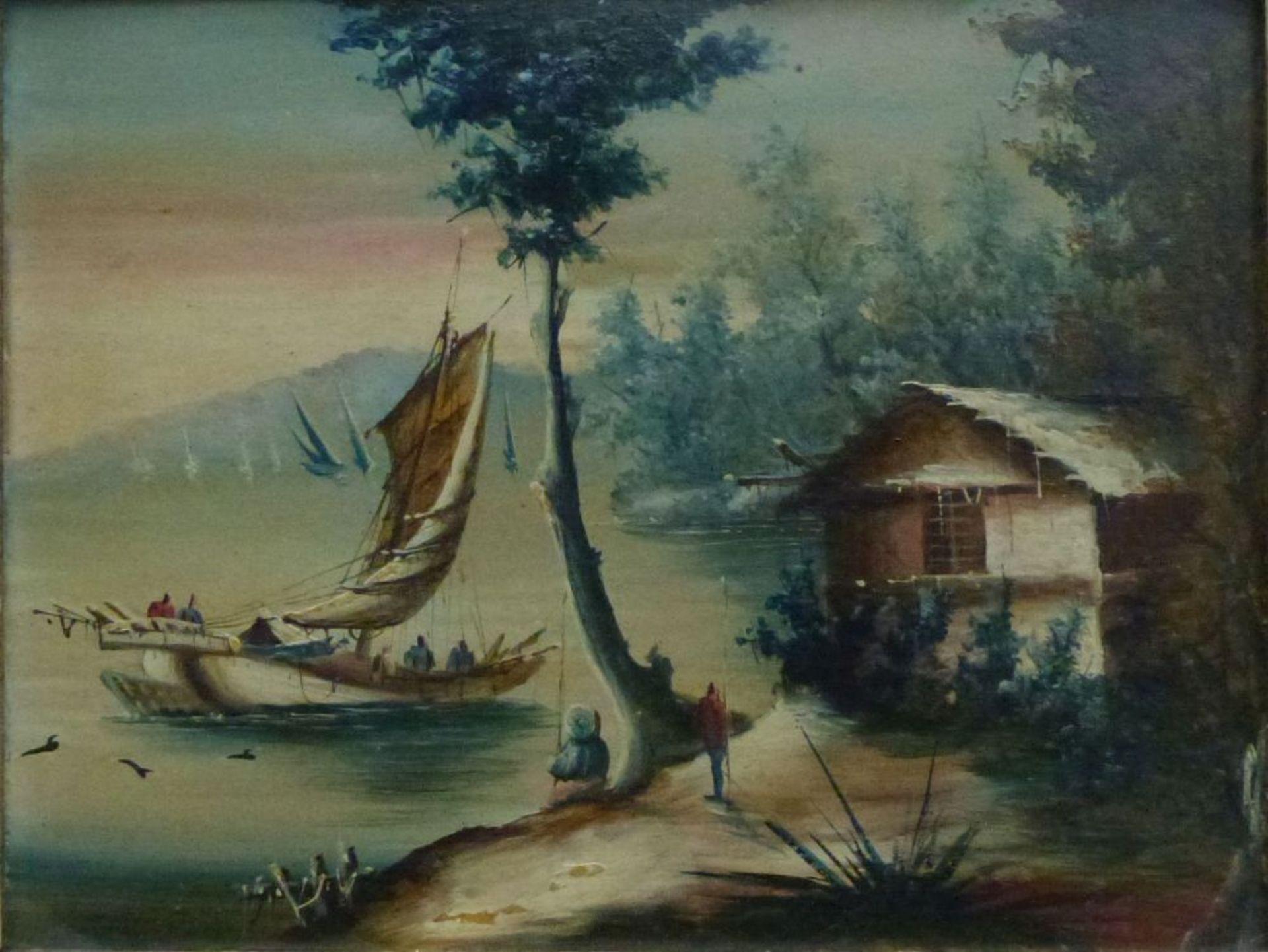 See, 1.Hälfte 20.Jh.Öl/Platte, Boote auf See, Hütte u. Personen am Ufer, Florentiner Leiste,