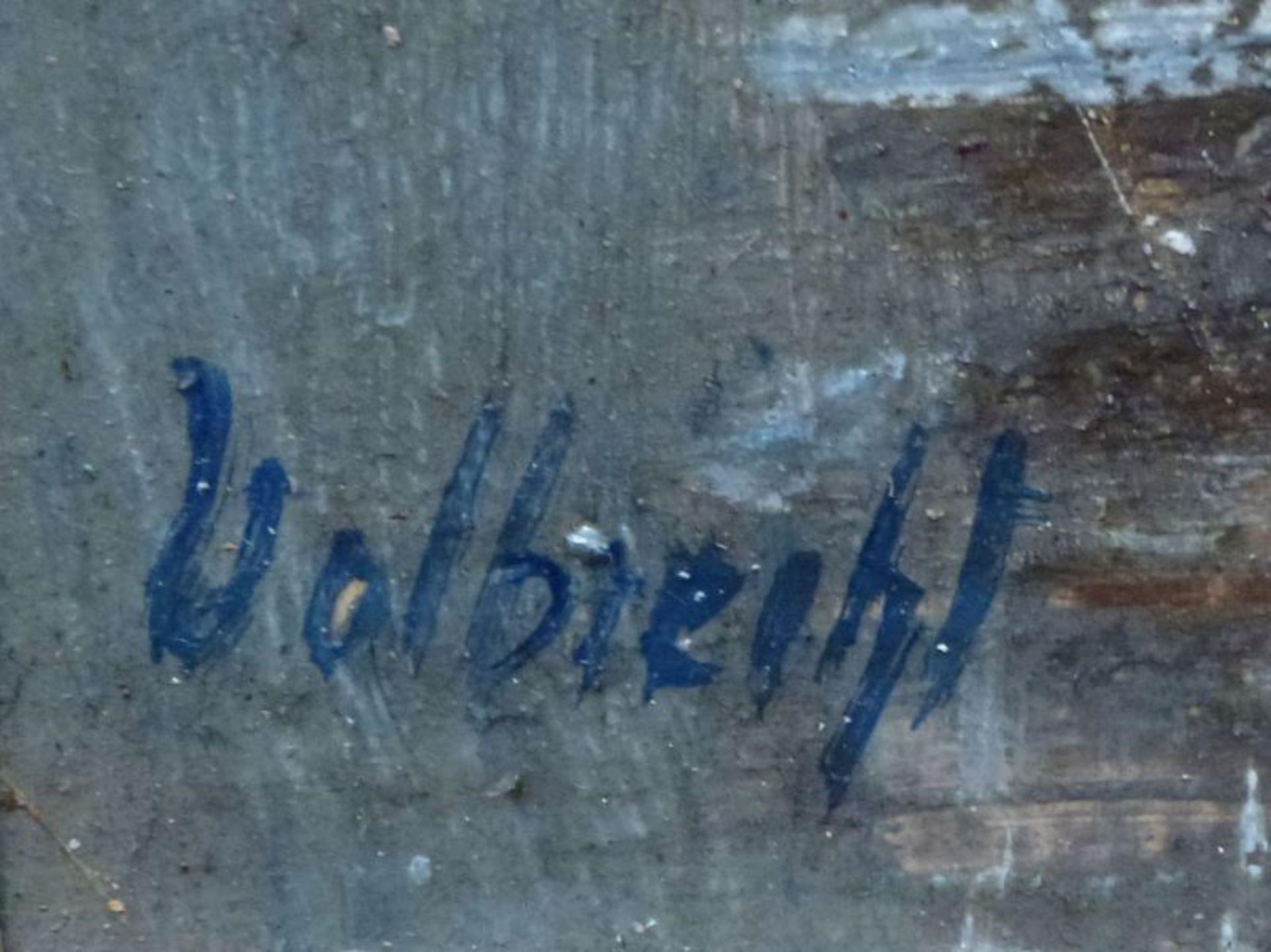 Hamburger MichelErnst Volbrecht, 1877 - 1964Öl/Platte, u.l. sign., Häuser u. Kähne vor dem Hamburger - Bild 3 aus 3
