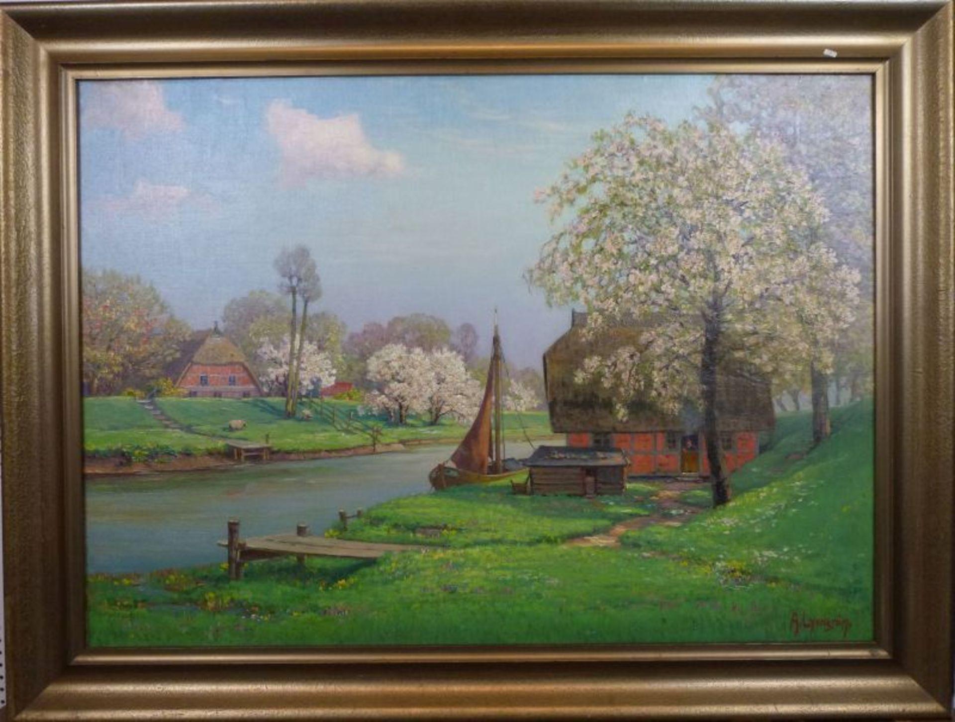"""""""Frühling an der Lühe""""Arnold Lyongrün, 1871 - 1935Öl/Lw, sign., rs. bez., Obstblüte am Fluss mit - Bild 2 aus 3"""