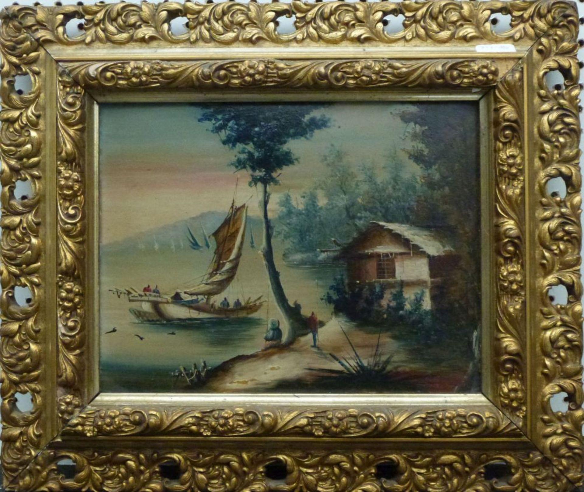 See, 1.Hälfte 20.Jh.Öl/Platte, Boote auf See, Hütte u. Personen am Ufer, Florentiner Leiste, - Bild 2 aus 3