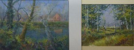 2 LandschaftenWerner Roger Neck, 1944Öl/Pappe, sign., Blick über baumumstandenem Fluss auf Gehöft