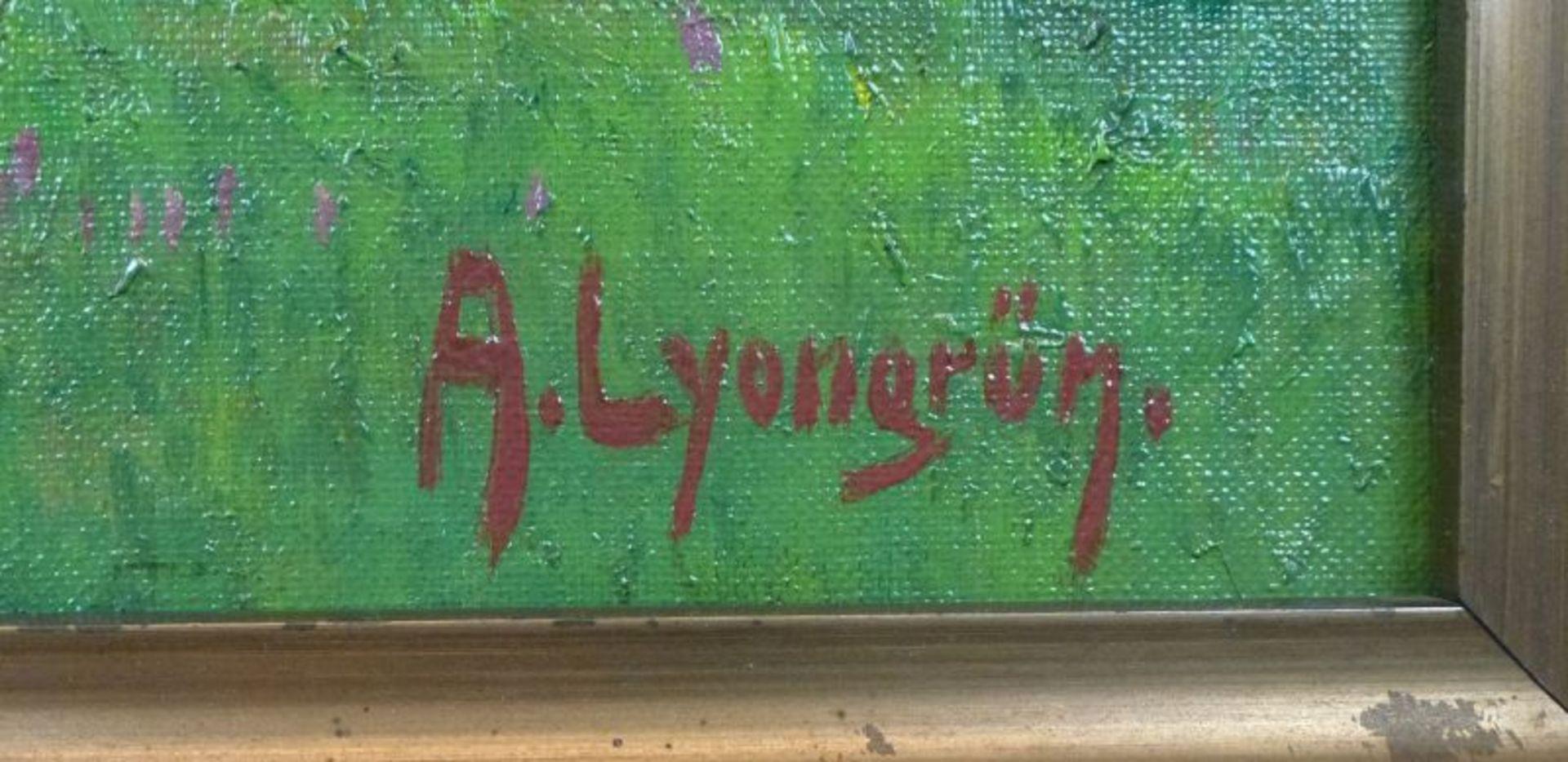 """""""Frühling an der Lühe""""Arnold Lyongrün, 1871 - 1935Öl/Lw, sign., rs. bez., Obstblüte am Fluss mit - Bild 3 aus 3"""