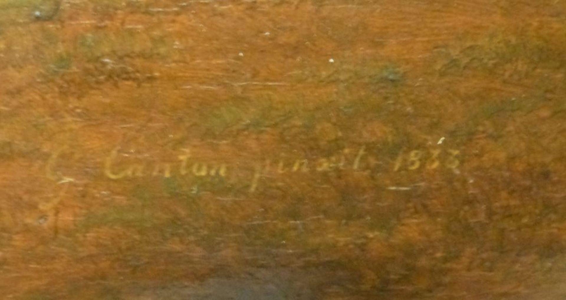 Auf der WeideGustav Jakob Canton, 1813-1885Öl/Eichenplatte, sign. G.Canton pinxit 1833, Kühe, Schafe - Bild 2 aus 7