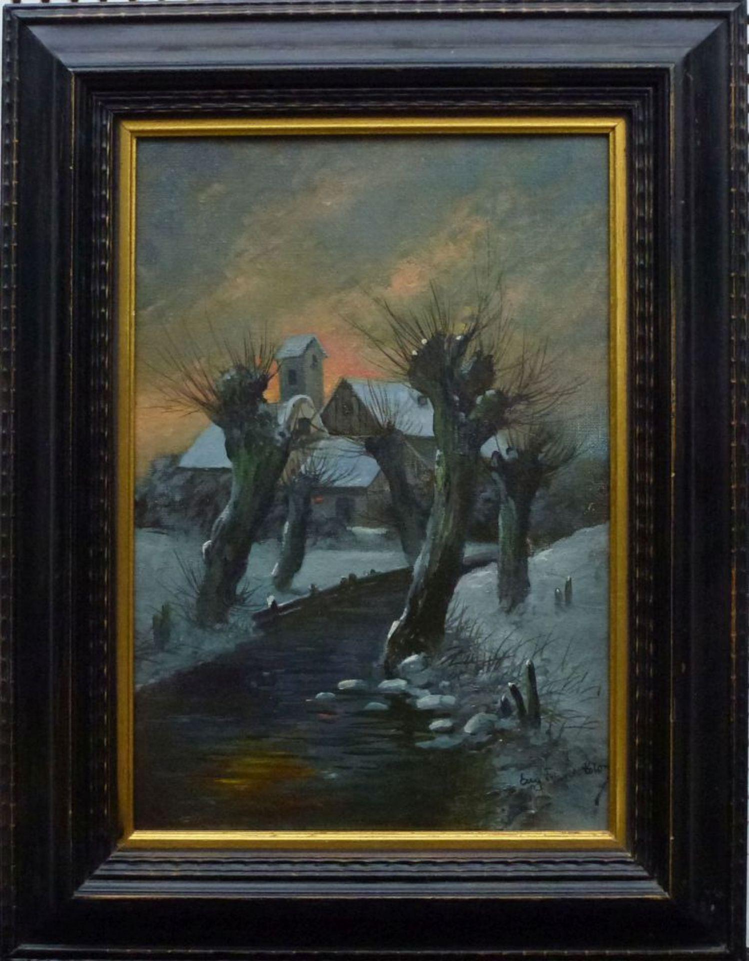 Winter, Eugen Frank-ColonÖl/Lw, sign., Weg zw. Kopfweiden, Hof im HG, R, 36x26cm - Bild 2 aus 3