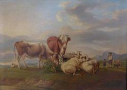 Auf der WeideGustav Jakob Canton, 1813-1885Öl/Eichenplatte, sign. G.Canton pinxit 1833, Kühe, Schafe
