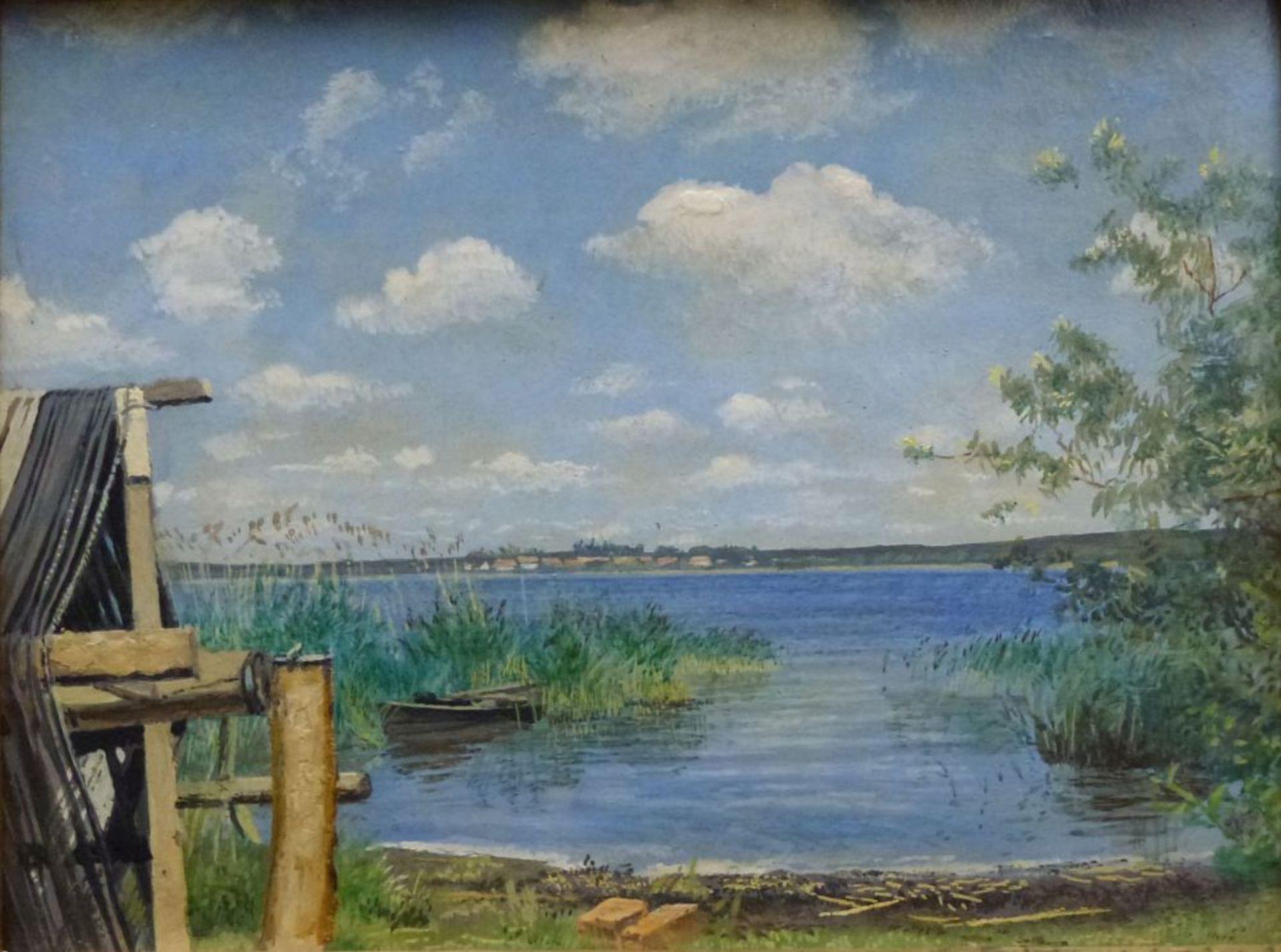 Los 35 - Dümmer See, 1.Hälfte 20.Jh.Öl/Platte, rücks. bez. Erwin Kröner, Blick über den See auf Dorf, alte