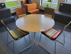 """48"""" Round Wood Table Top w/ Metal Base and (4) Chairs"""