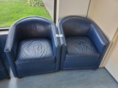 Pair of Blue Faux Leather Rolling Arm Chair