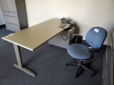 """30""""x72"""" Metal Leg Desk w/ 3 Drawer Rolling Filling Cabinet and Office Chair"""