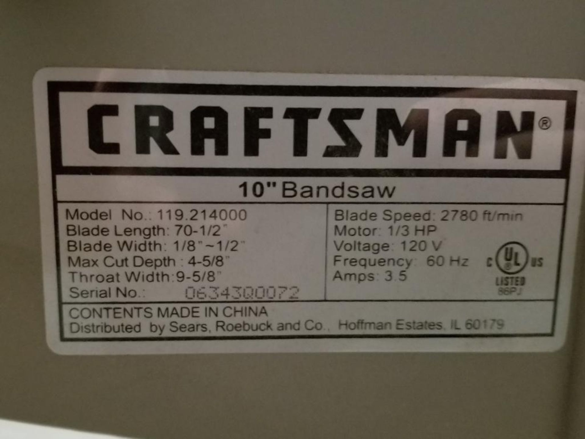 Craftsman Mdl. 119.214000 Band Saw - Image 2 of 2